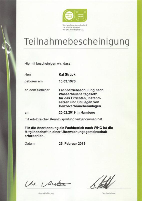 Teilnahmebescheinigung Fachbetriebsschulung nach Wasserhaushaltsgesetz